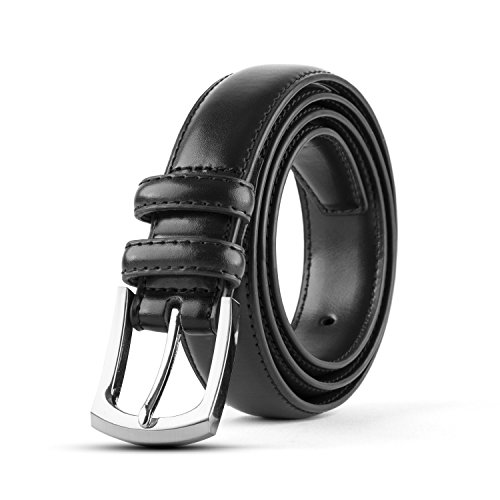 Men's Classic Stitched Leather Dress Belt - Black (48) Single Pack