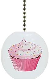 Carolina Hardware and Decor 1916FSprinkles Cupcake with Sprinkles Solid Ceramic Fan Pull