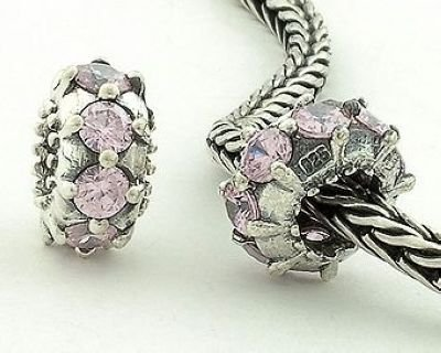 General Gifts 925 Sterling Silver Pink Tourmaline Czech Crystal Cz