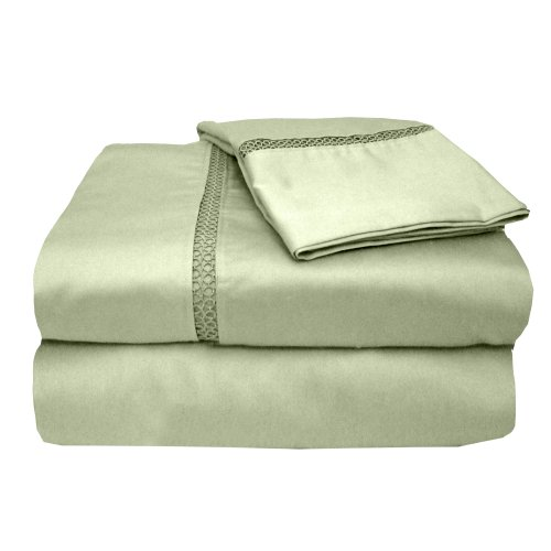 MADE IN THE USA 300TC 100% Cotton Sateen Princeton Sheet Set Full, Sage By Veratex (Made In Usa Sheet Set compare prices)