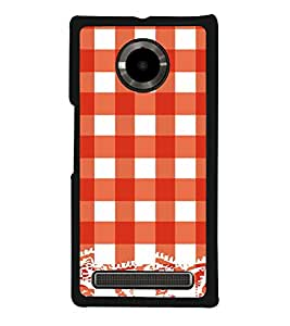 Red Checks Pattern Back Case Cover for YU YUPHORIA
