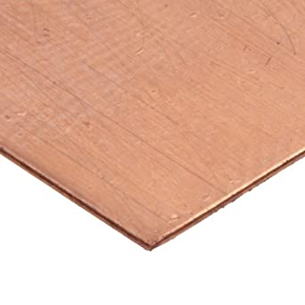 "110 Copper Sheet Sample Pack, Unpolished (Mill) Finish, H02 Temper, ASTM B370, Varying Thicknesses, 4"" Width, 4"" Length"