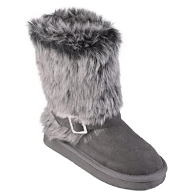 Journee Collection Kids Buckle Accent Faux Fur Boots