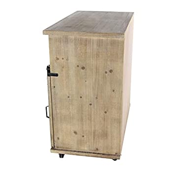 "Deco 79 84249 33""/34"" Wood Metal Storage Cabinet, Brown/Black"