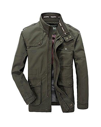 Keral Uomo Casual Solid Giacca Zip Button Tasca Del Cappotto Esercito Verde