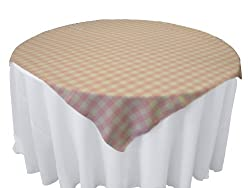 LA Linen Checkered Overlay Tablecloth, 58 by 58-Inch, Pink