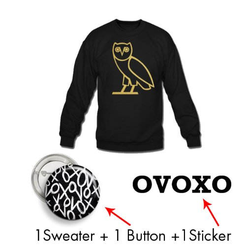 Medium + Black | Owl Mega Pack | Crew + Pin + Sticker | Ovoxo Drake