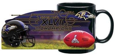 Baltimore Ravens Superbowl Super Bowl XLVII 47 Champions Champs NFL Black Coffee Mug