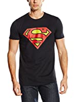 DC Comics Camiseta Manga Corta Superman Distressed Logo (Negro)