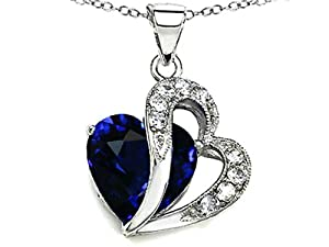 Star K 12mm Created Blue Sapphire Double Heart Pendant Chain