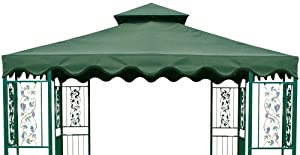 DC America GOT660-GG, 10-Foot by 10-Foot Gazebo Replacement Top, 2-Tier, Green with Green Trim (Discontinued by Manufacturer)