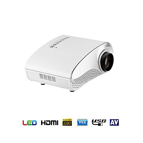 Kingcenton® Portatile Mini Proiettore,Pico Proiettore LED/LCD Multimediale AV/USB/VGA/HDMI/SD Home Theater 480*320 Per DVD Flash USB del PC (802 Bianco)