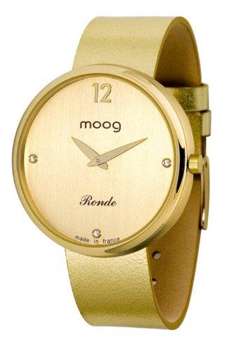 Moog Women's Watch Time to Change M41671-016 Analogue Quartz Golden Dial Calfskin Leather Strap Metallic Gold