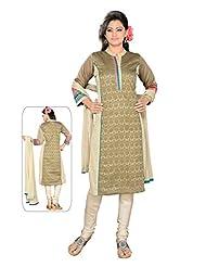 Ritu Creation Women's New Silk Self Print Stitched Chudidar Suit With Embroided Work(Beige) - B018ED1WV0