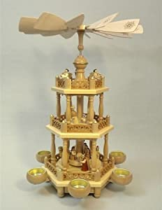 Natural German Nativity 2-Tier Christmas Pyramid by Glaesser