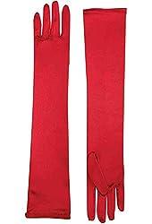 Long Satin Red Dress Gloves for Women