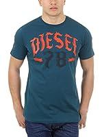 Diesel Camiseta Manga Corta T-Lonad (Azul Petróleo)