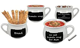 4-Pack of Chalkboard Soup Mugs With Chalk