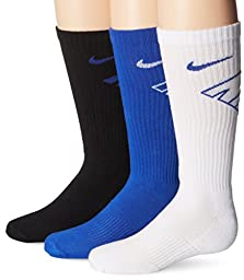 New Nike 3 Pack Boys\' Graphic Cotton Cushioned Crew w/ Moisture Mgt Socks Grey/White/Blue Youth Small