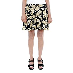 BLACK/GREEN FLORAL PRINTED SKIRTS (Free Size)