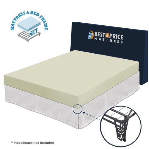 "Best Price Mattress Full 6"" Memory Foam Mattress + Bed Frame Set -Full Size-N..."
