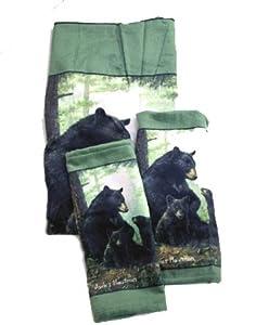 Black Bear Cabin Hautman Towel Set/3 Bath Hand Wash