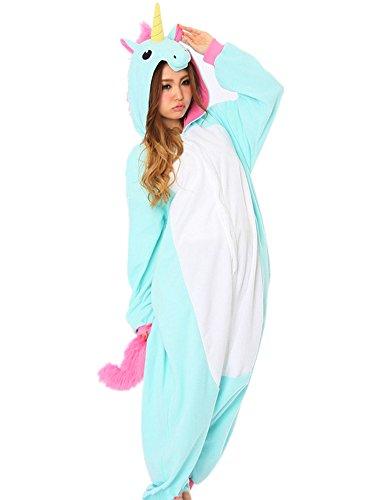 CTHEE Adulto Unisex Indossare Kigurumi Animal Cartoon Pigiameria Combinaison Pigiama Vestito Costume Unicorno Blu S