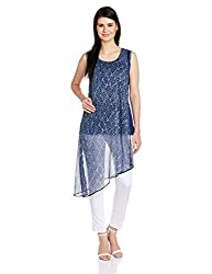 Mother Earth Women's Asymmetrical Hemline Kurta (EWK-DCSL-13_Indigo_XXL)