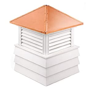 """114"""" Handcrafted """"Dover"""" Copper Roof Vinyl Cupola"""