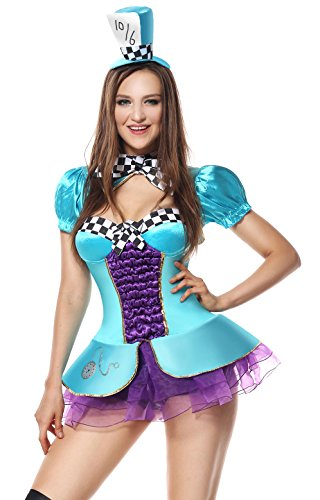 [Sibeawen Women's Sexy Totally Mad Plus Size Costumes Blue Large/X-Large] (Female Mad Hatter)