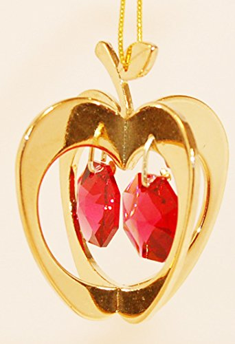 24K Gold Plated Hanging Sun Catcher Or Ornament..... Apple With Two Red Swarovski Austrian Crystals front-953351