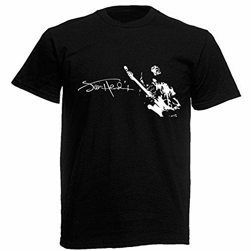 T-shirt Uomo Jimi Hendrix - Maglietta Rock Blues Guitar 100% cotone LaMAGLIERIA,L , Nero