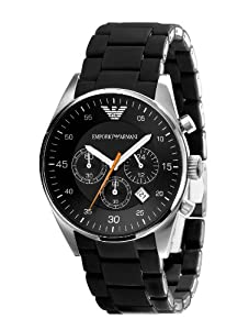 Emporio Armani Black Band Black Dial - Quartz, Men's Watch AR5858