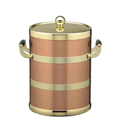 5 Qt. Ice Bucket With Polished Brass Lid And Wood Side Handles