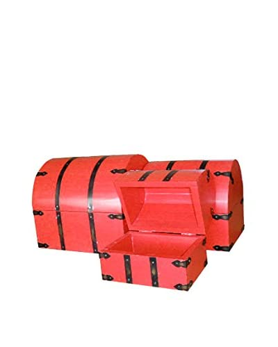 Jeffan Dome Set of 3 Nesting Treasure Chests with Metal Accents, Red