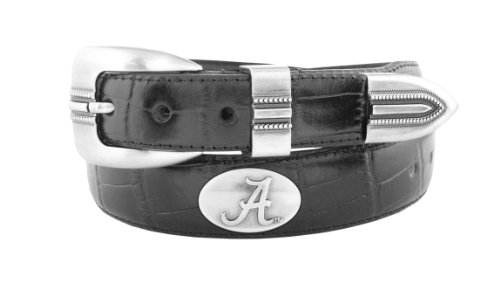 NCAA Alabama Crimson Tide Black Crocodile Tip Leather Concho Belt, 42
