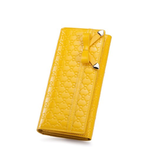 Nucelle Butterfly Dream Series Bow Tie Embossed Patent Leather Bifold Women'S Clutch Wallet (Yellow)