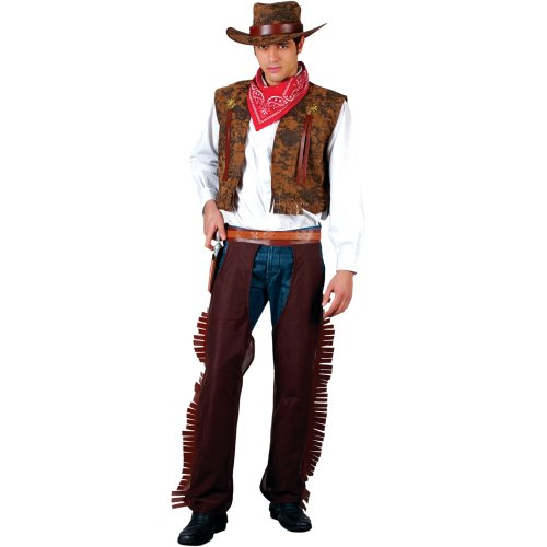 Wild West Cowboy Mens Fancy Dress Costume Adults Rodeo (Men:  Small, Brown)