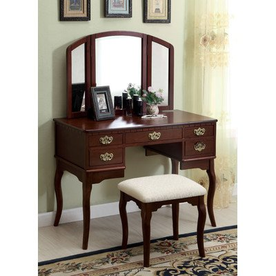 Madera Vanity Table With Matching Stool Finish: Cherry front-586968