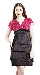 Peptrends Women's Empire Dress (DR1501059MG, Black and pink, Medium)
