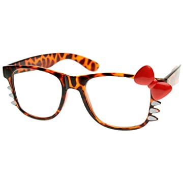 Women's Hello Kitty Clear Lens Glasses w/ Bow and Whiskers (5 Colors)