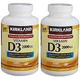 2 Pack of Kirkland Maximum Strength Vitamin D3 600 Softgels - 1200 Total Softgels 2000 I.U.
