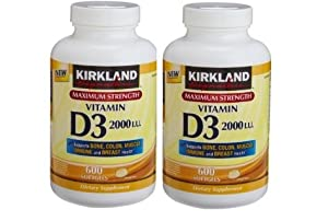 2 Pack of Kirkland Maximum Strength Vitamin D3 600 Softgels