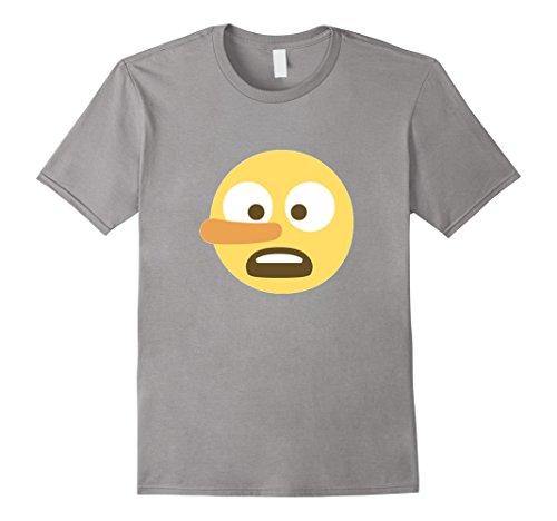 Men's Lying Emoji T-Shirt Pinocchio Liar Long Growing Nose Medium Slate (Pinocchio Nose Growing)