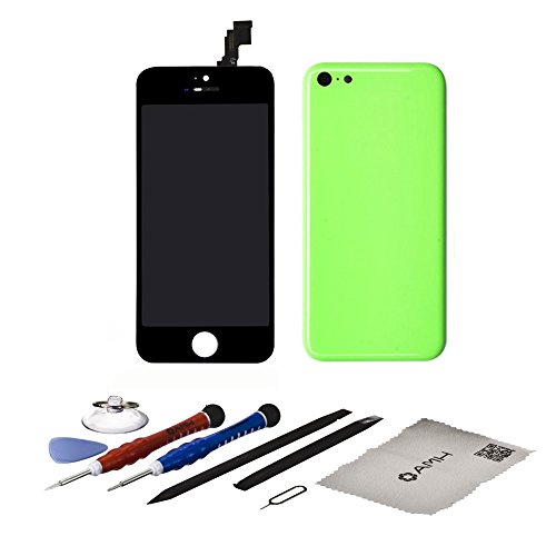 Amh Premium Replacement And Repairing Kit: Lcd Touch Screen Digitizer Assembly (Black) + Back Cover (Green) +Amh Customized Opening Tools Compatible With Iphone 5C Model A1532/A1507/A1529/A1456