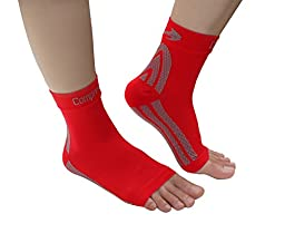 Foot Sleeves (1 Pair - Red L) Best Plantar Fasciitis Compression for Men & Women - Heel Arch Support/ Ankle Sock
