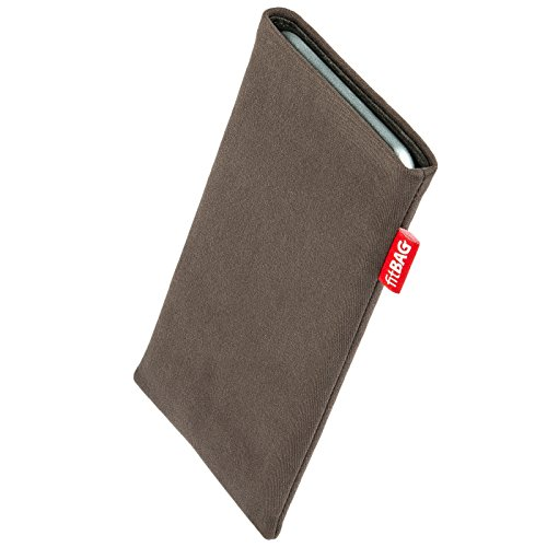 fitBAG Rock Taupe custom tailored sleeve for Nokia Lumia 830. Fine suit fabric pouch with integrated MicroFibre lining for display cleaning