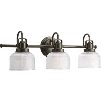 Progress lighting p2992 74 archie three light bath vanity Venetian bronze bathroom light fixtures