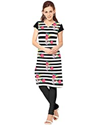 ZIYAA Black Color Half Sleeve And V Neck Faux Crepe Kurti