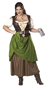 California Costumes Plus-Size Tavern Maiden Dress, Olive/brown, 2XL (18-20) Costume